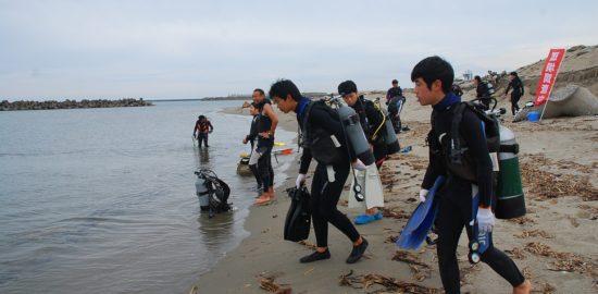大浜で加茂水生ら藻場保全活動